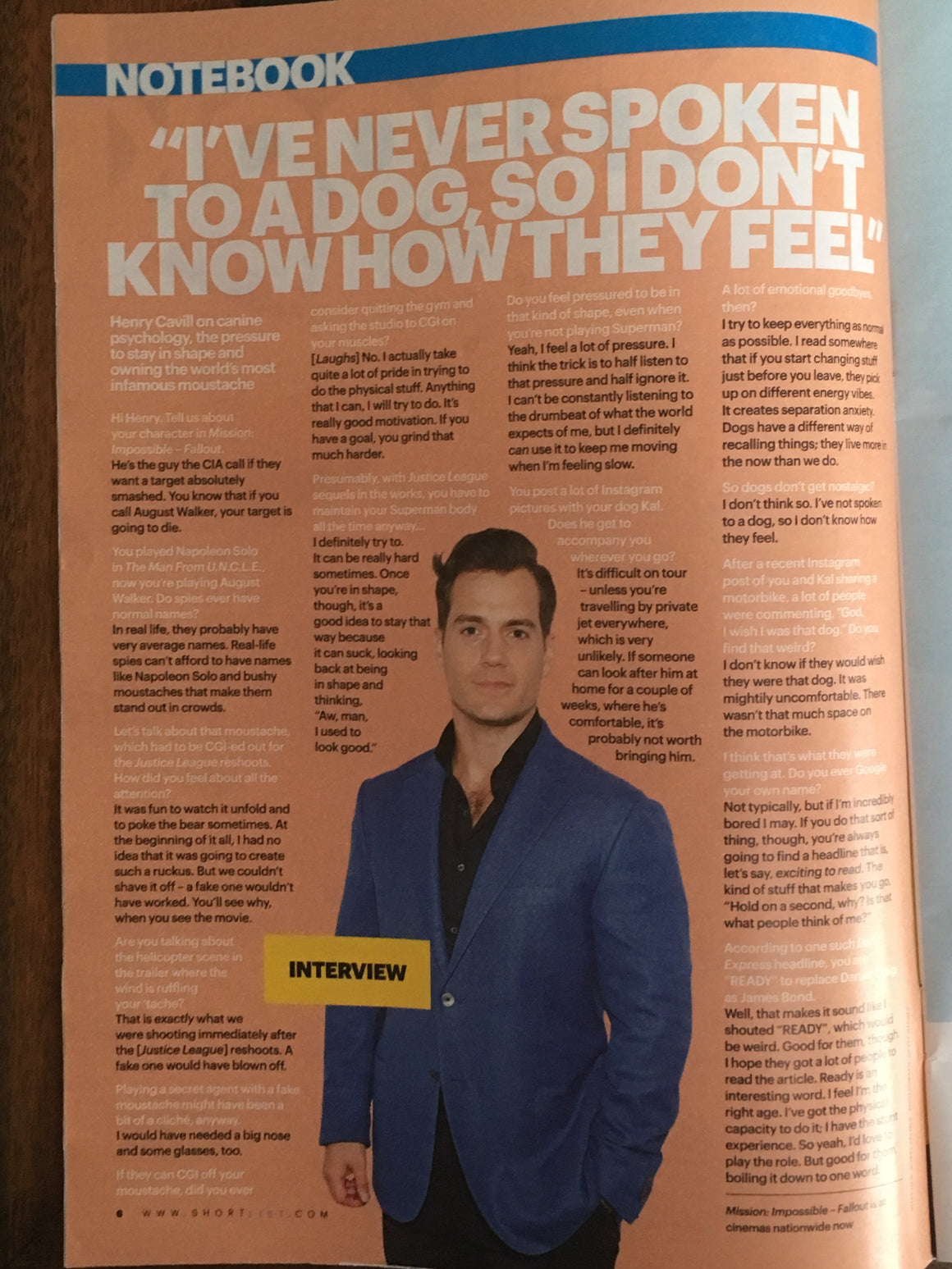 UK SHORTLIST magazine 26 July 2018: HENRY CAVILL (Superman) Interview