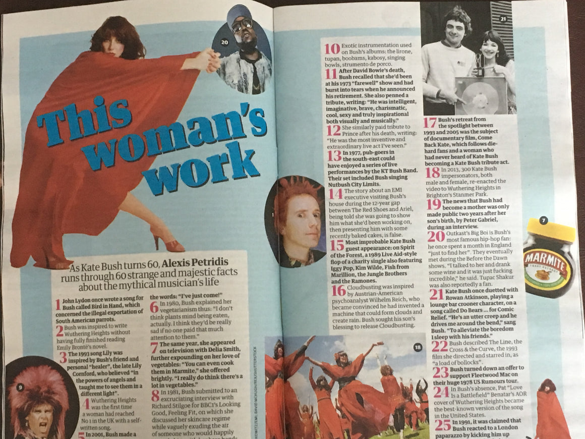 UK GUARDIAN Guide magazine 28 July 2018: Kate Bush on her 60th