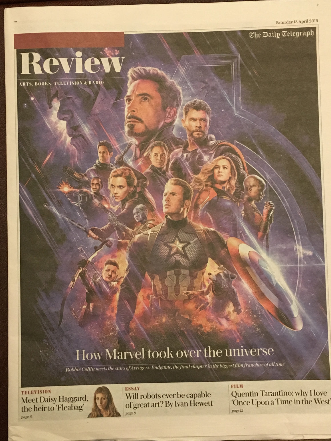 UK TELEGRAPH REVIEW April 2019: AVENGERS: ENDGAME Chris Evans Hemsworth ROBERT DOWNEY JR.