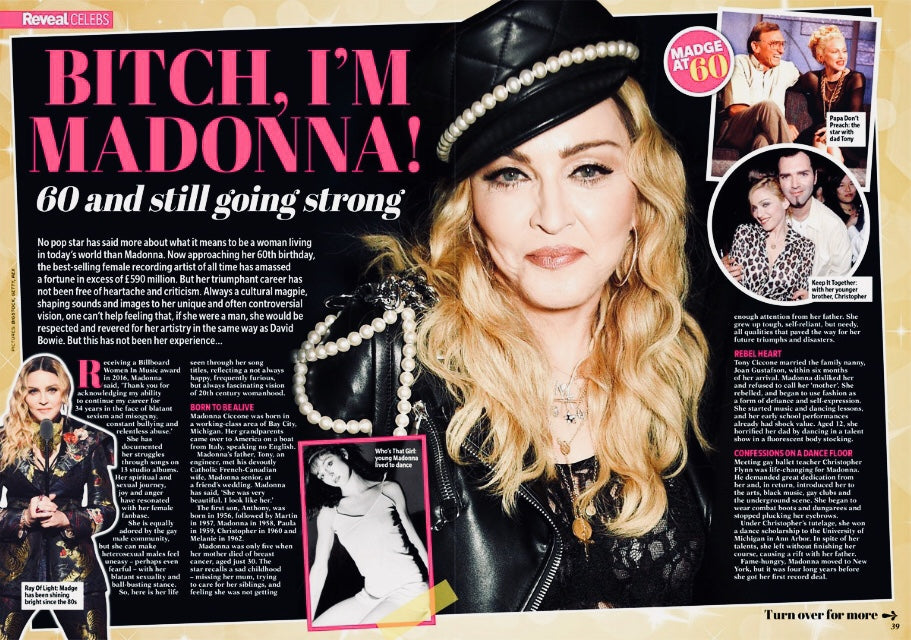 New UK Madonna Reveal Magazine 6 Page Tribute Issue Madonna At 60