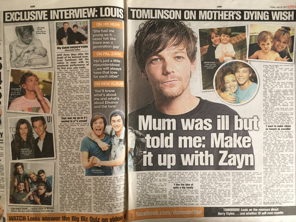 Louis Tomlinson Set of 2 Interviews (The Sun July 21 & 22nd 2017)