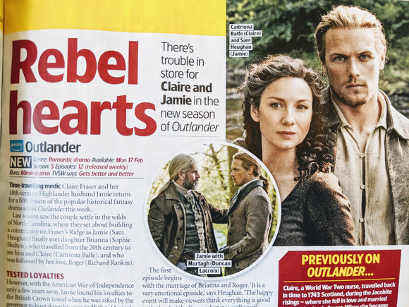 TV & Satellite magazine 15 Feb 2020: Sam Heughan Outlander Caitriona Balfe