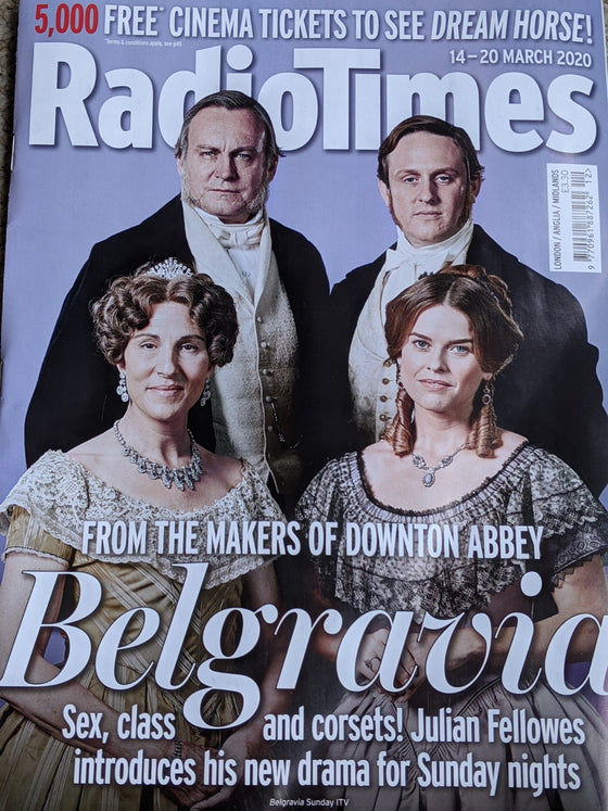 Radio Times Magazine 14 March 2020: PHILIP GLENISTER Tamsin Greig ALICE EVE Belgravia