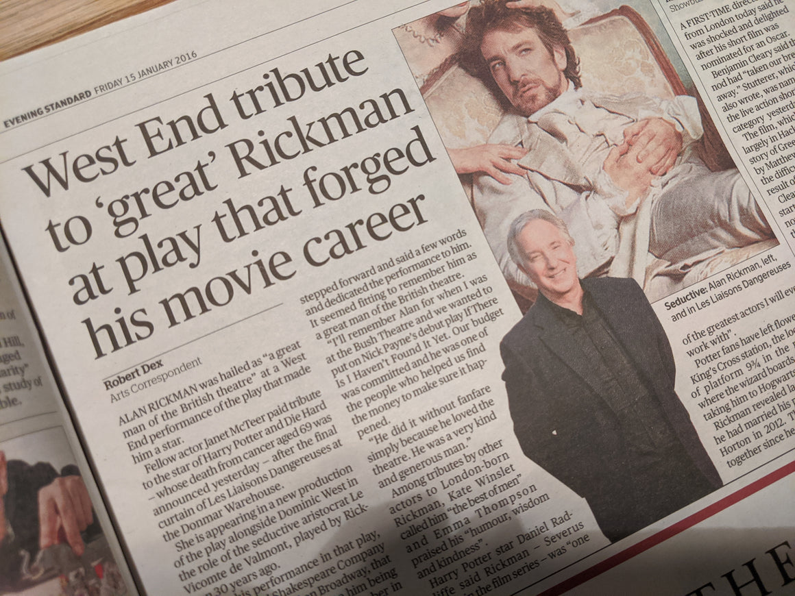 London ES 15th January 2016: Alan Rickman Tribute
