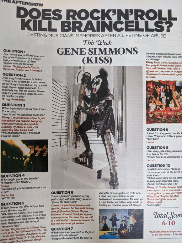 NME Magazine 16 October 2010: Gene Simmons Kiss Interview