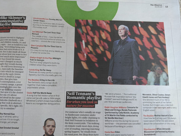 Observer New Review 24 May 2020 Neil Tennant Pet Shop Boys Haim The 1975