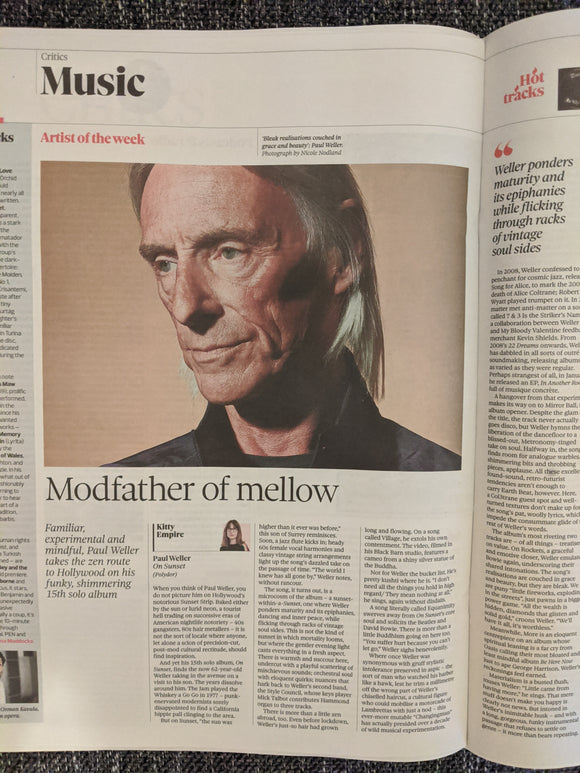 UK Observer New Review 5th July 2020 Paul Weller