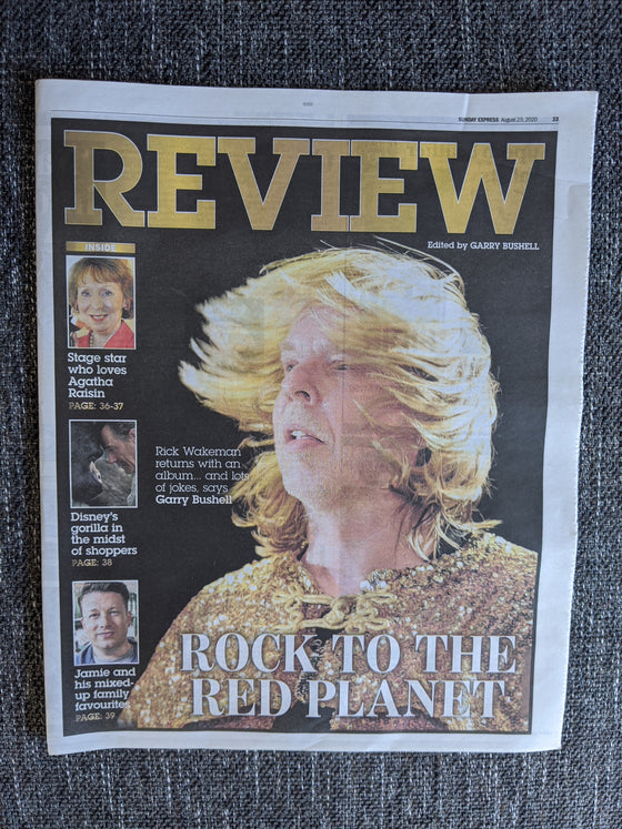 EXPRESS REVIEW 23rd August 2020 - Rick Wakeman (YES) Cover + Interview