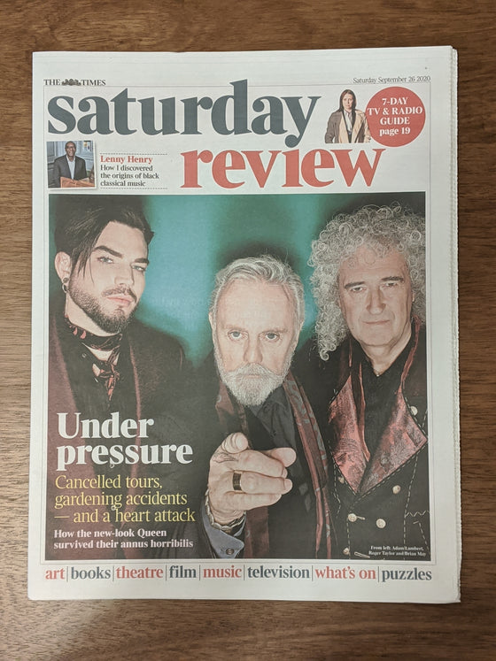 UK Times Review 26th September 2020 Queen Adam Lambert Roger Taylor Brian May