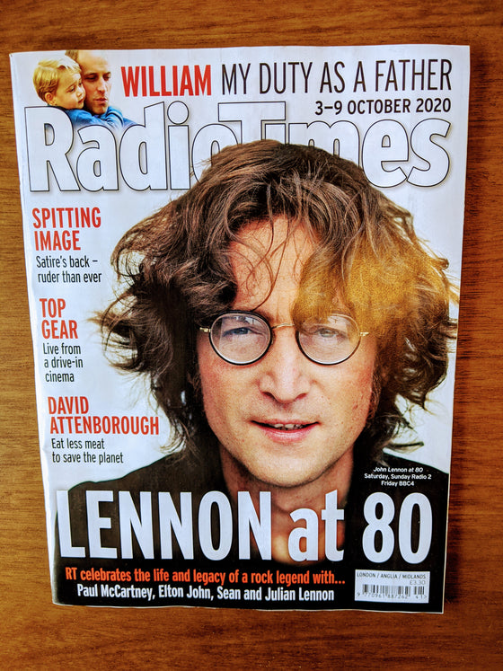UK Radio Times 3 October 2020: John Lennon at 80 The Beatles Paul McCartney