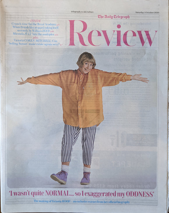 UK Telegraph Review 3 Oct 2020: Victoria Wood Tom Stoppard William Boyd