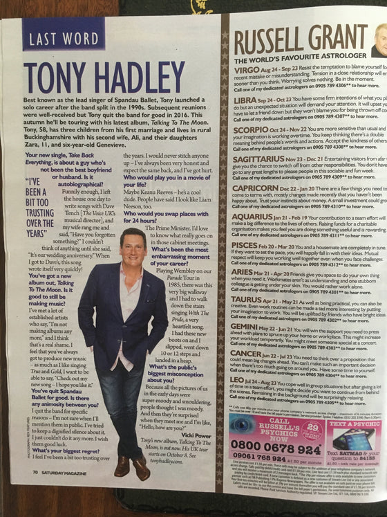 UK SATURDAY 08/2018 GILBERT O'SULLIVAN Tony Hadley DAVID MITCHELL Toni Collette