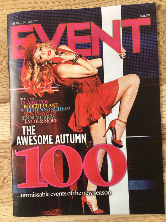 UK Event Magazine August 2018: Kylie Minogue Cover - Sam Heughan Robert Plant Fionn Whitehead
