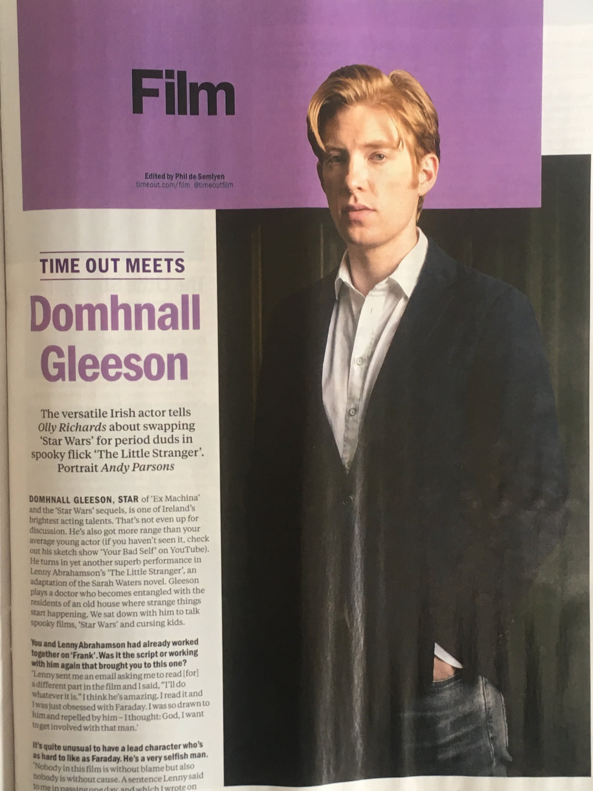 London Time Out Magazine Sept 2018: DOMHNALL GLEESON interview