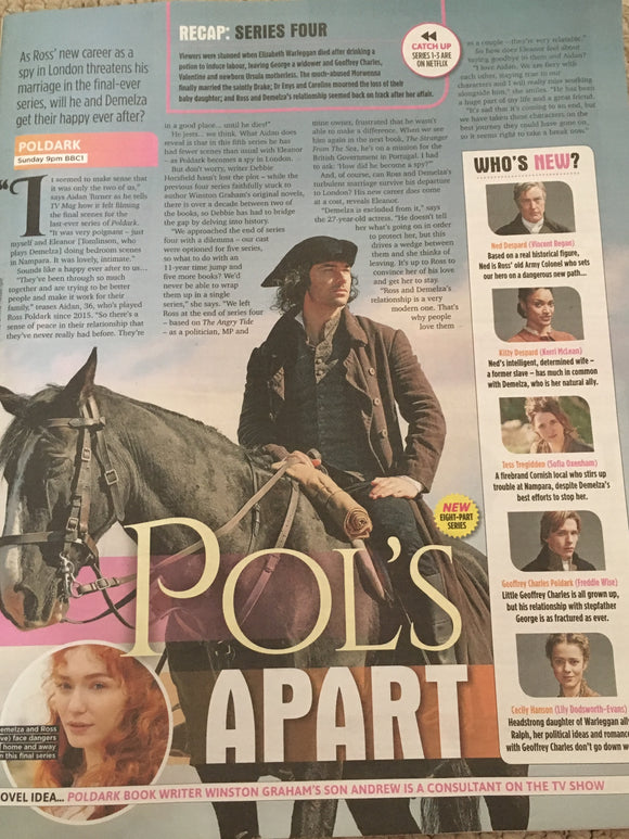 UK SUN TV Magazine July 2019: Aidan Turner + Eleanor Tomlinson (Poldark) - Bros