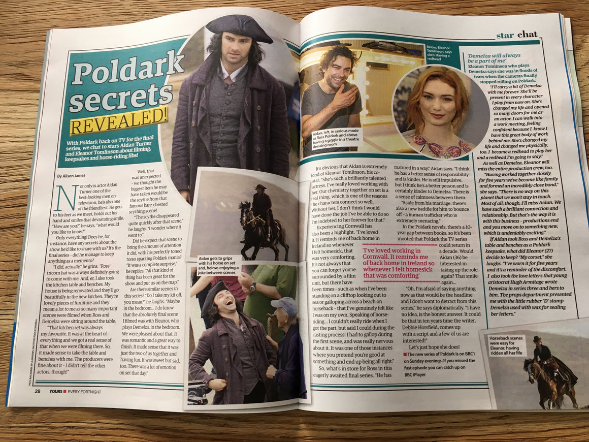 UK Yours Magazine July 2019: Aidan Turner Eleanor Tomlinson (Poldark) Secrets