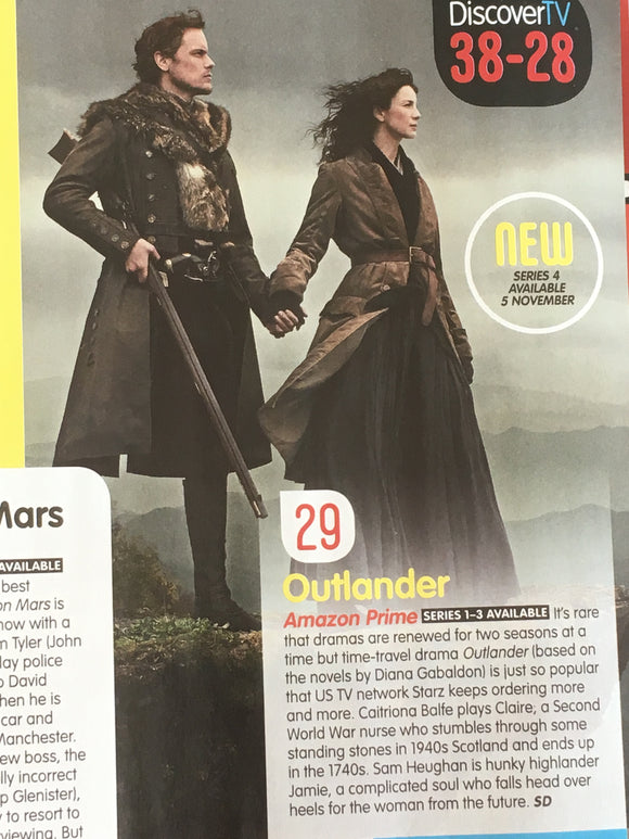 UK RADIO TIMES magazine October 2018 Sam Heughan Caitriona Balfe Outlander