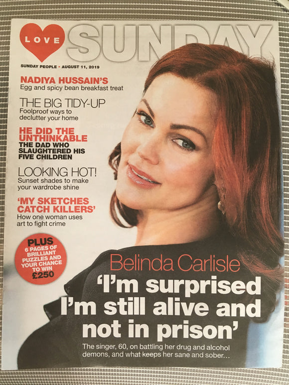 New UK Belinda Carlisle Love Sunday Magazine Cover Interview August 2019