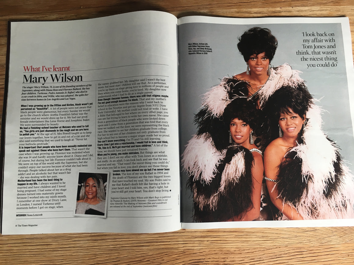 UK Times Magazine 31st August 2019: MARY WILSON (The Supremes Diana Ross) Interview
