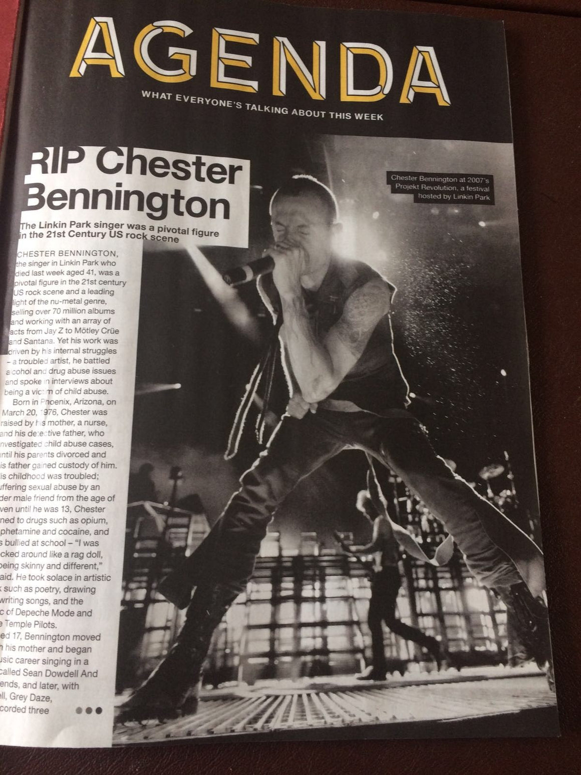 NME magazine 28 July 2017 Chester Bennington 1976-2017 Tribute Inside
