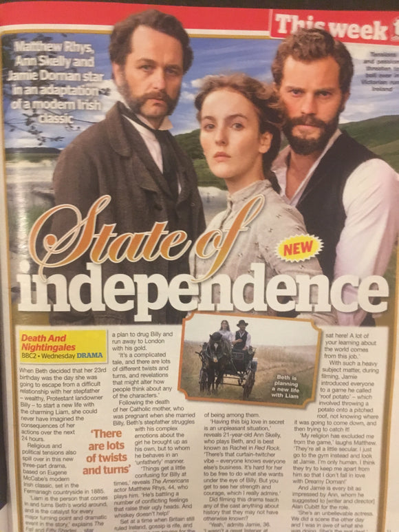 UK TV Choice Magazine 24 Nov 2018: Jamie Dornan Matthew Rhys interview