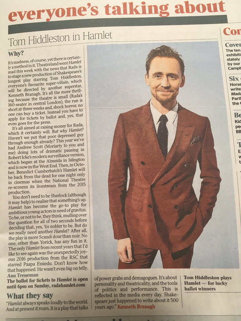 UK Times Review August 5 2017 Tom Hiddleston in Hamlet