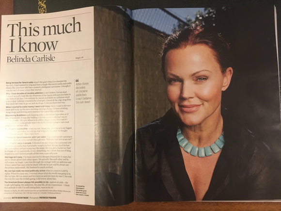 Observer Magazine - 13th August 2017  Belinda Carlisle Interview