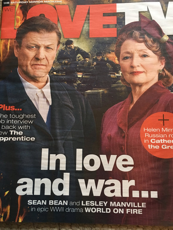 UK LOVE TV Magazine 09/2019: SEAN BEAN Lesley Manville WORLD ON FIRE COVER STORY