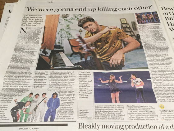 Daily Telegraph Newspaper 3rd October 2019: Niall Horan