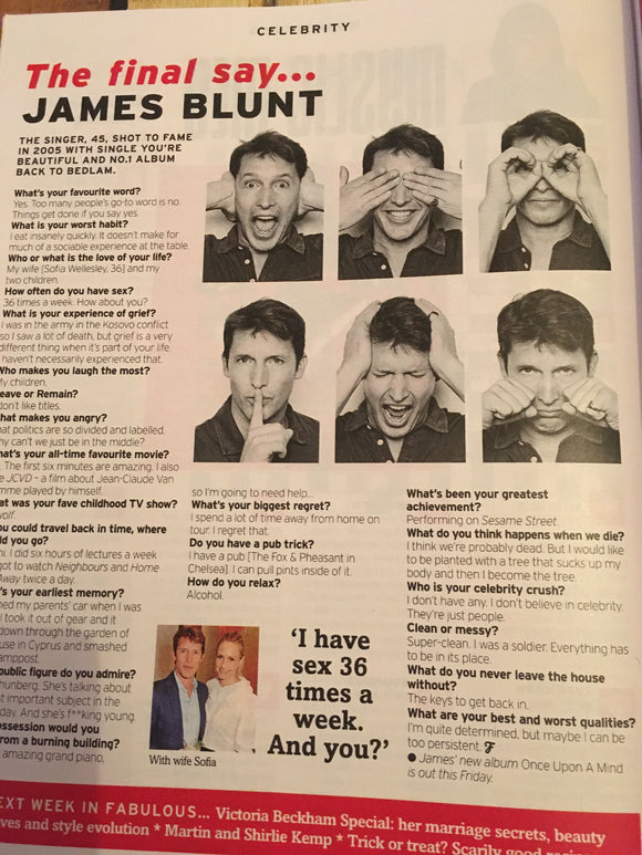 UK Fabulous Magazine 20 October 2019: James Blunt