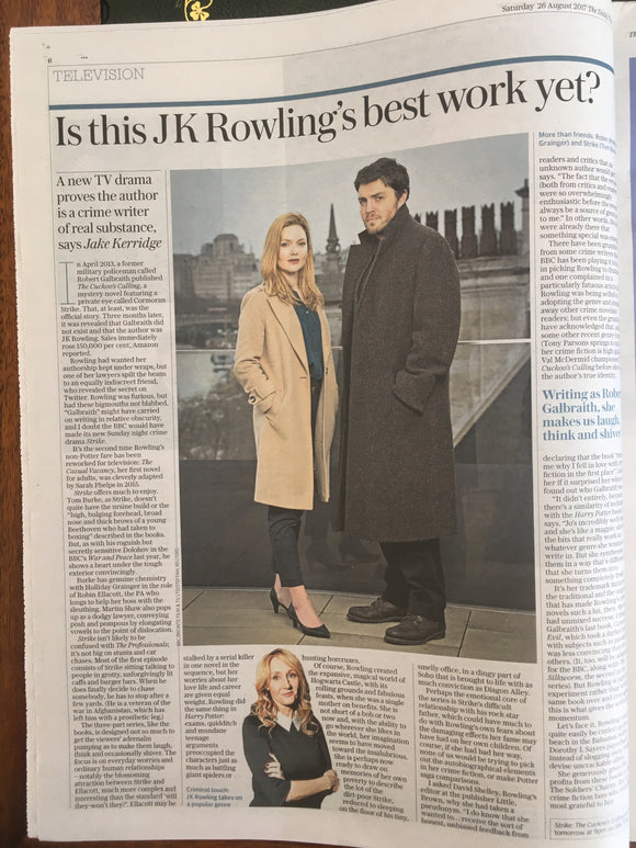 UK Telegraph Review 26 August 2017 Tim Roth Tom Burke Suranne Jones JK Rowling