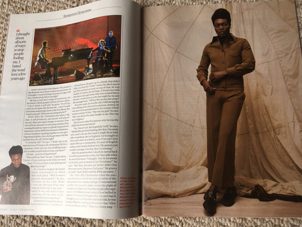 Benjamin Clementine UK Cover Interview Observer Magazine 27th August 2017