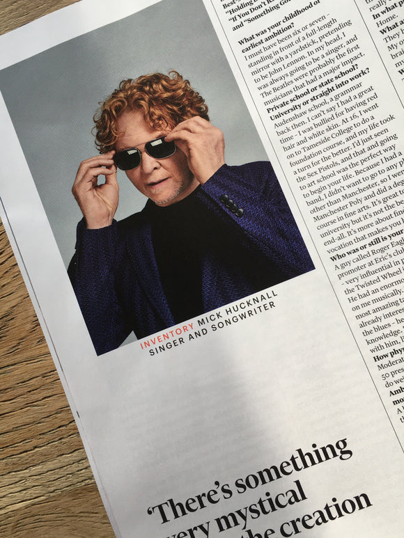FT Weekend Magazine November 2019: Mick Hucknall (Simply Red) Tobias Menzies