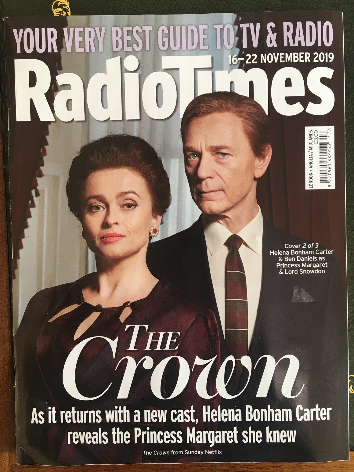RADIO TIMES Magazine 16 Nov 2019: HELENA BONHAM CARTER The Crown BEN DANIELS