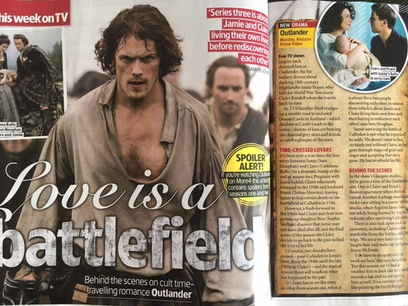 TV & Satellite magazine 9 September 2017 Sam Heughan Outlander Outlander Ioan Gruffudd