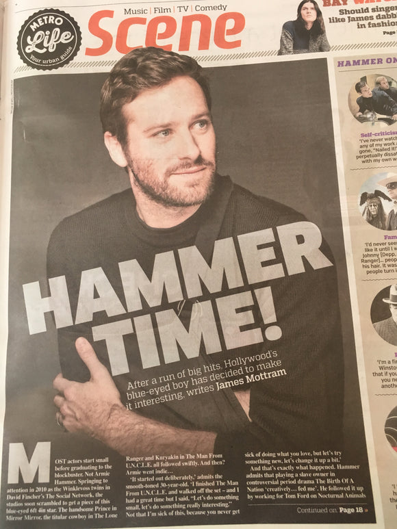 Man from Uncle ARMIE HAMMER uk PHOTO INTERVIEW AUGUST 2017