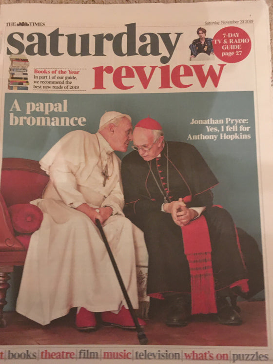 UK Times Review November 2019: ANTHONY HOPKINS Jonathan Pryce THE TWO POPES