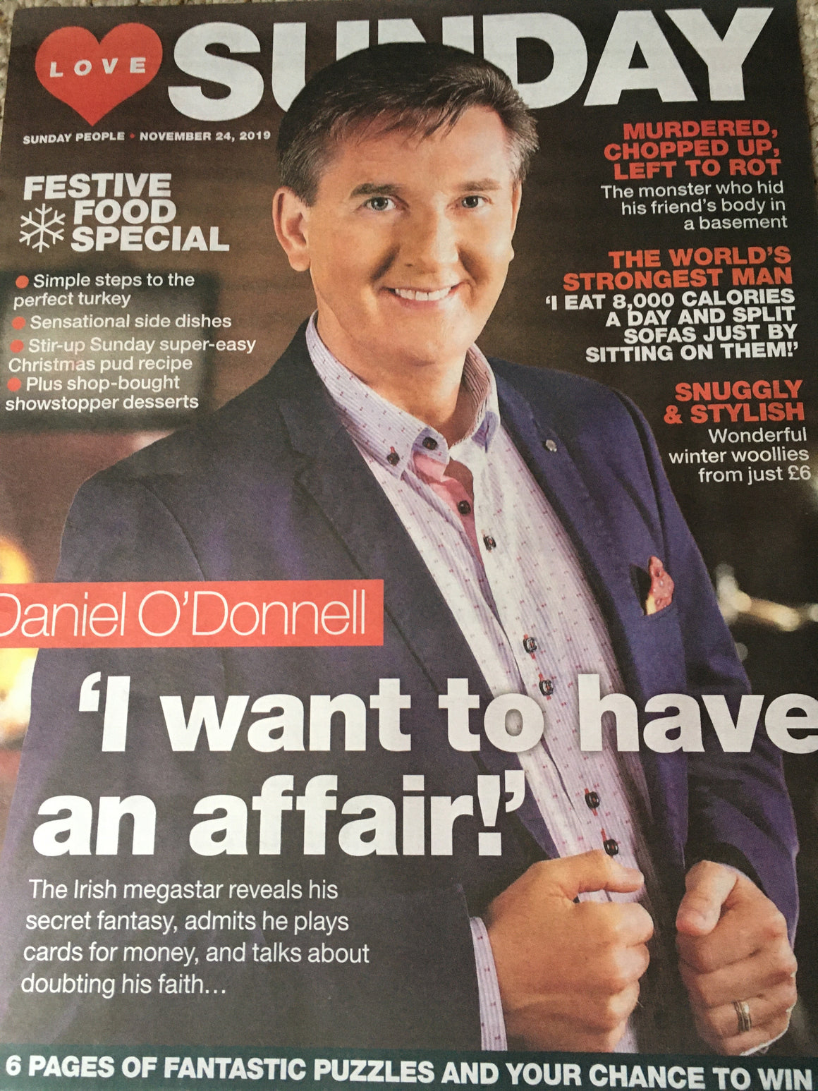 UK Love Sunday Magazine Nov 2019: DANIEL O'DONNELL COVER AND FEATURE