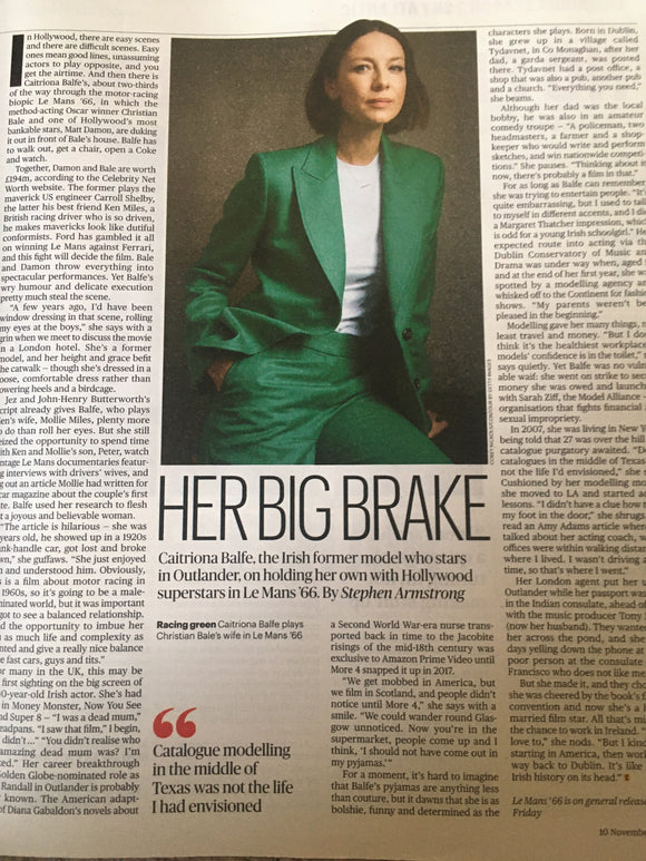 CULTURE magazine 11th November 2019 Caitriona Balfe Outlander