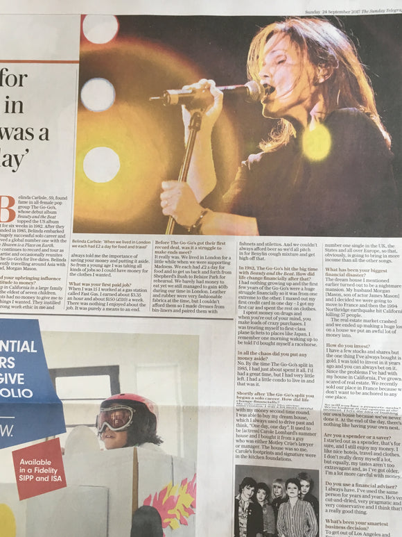 Belinda Carlisle Photo Interview UK Telegraph Money 24 September 2017
