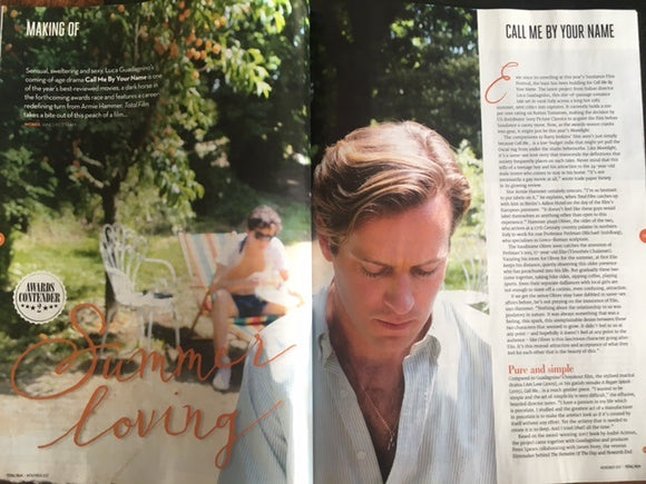 Total Film Magazine November 2017 Call Me By Your Name Timothee Chalamet Armie Hammer