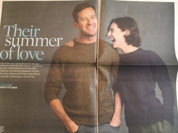 UK Observer New Review 15 October 2017  Timothee Chalamet Armie Hammer Interview