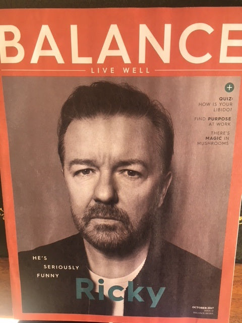 Ricky Gervais on the cover of Balance Magazine