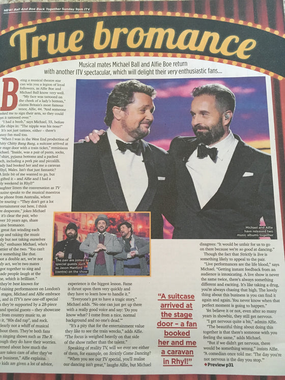Sun TV Magazine October 28 2017 Philip Glenister Alfie Boe Michael Ball Michael Parr