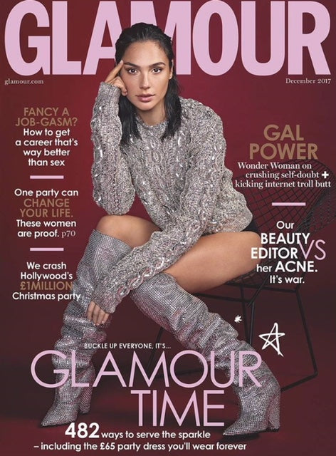 Gal Gadot on the cover of UK Glamour Magazine.