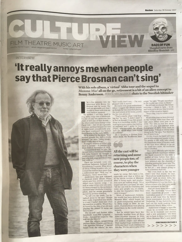 Irish Independent Review 28 October 2017 Benny Anderson Abba! Photo Interview