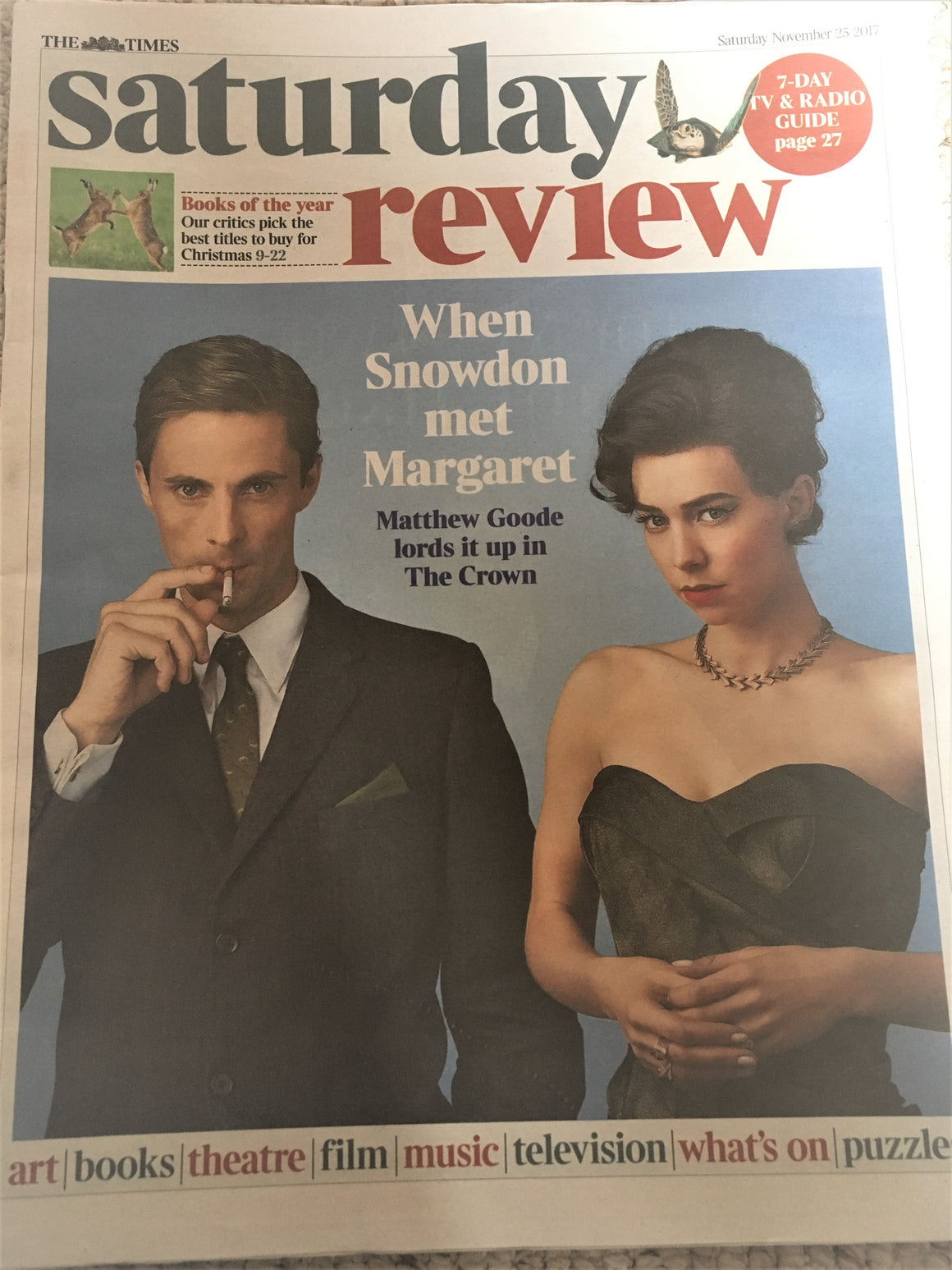 UK Times Review 25th November 2017 Matthew Goode Photo Cover Interview