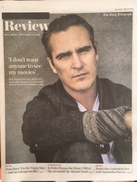 UK Telegraph Review March 2018: JOAQUIN PHOENIX Joan Baez PROTEST Pablo Picasso