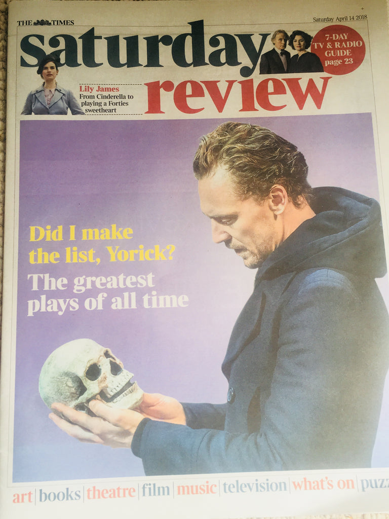 UK Times Review April 2018: TOM HIDDLESTON COVER STORY // LILY JAMES INTERVIEW
