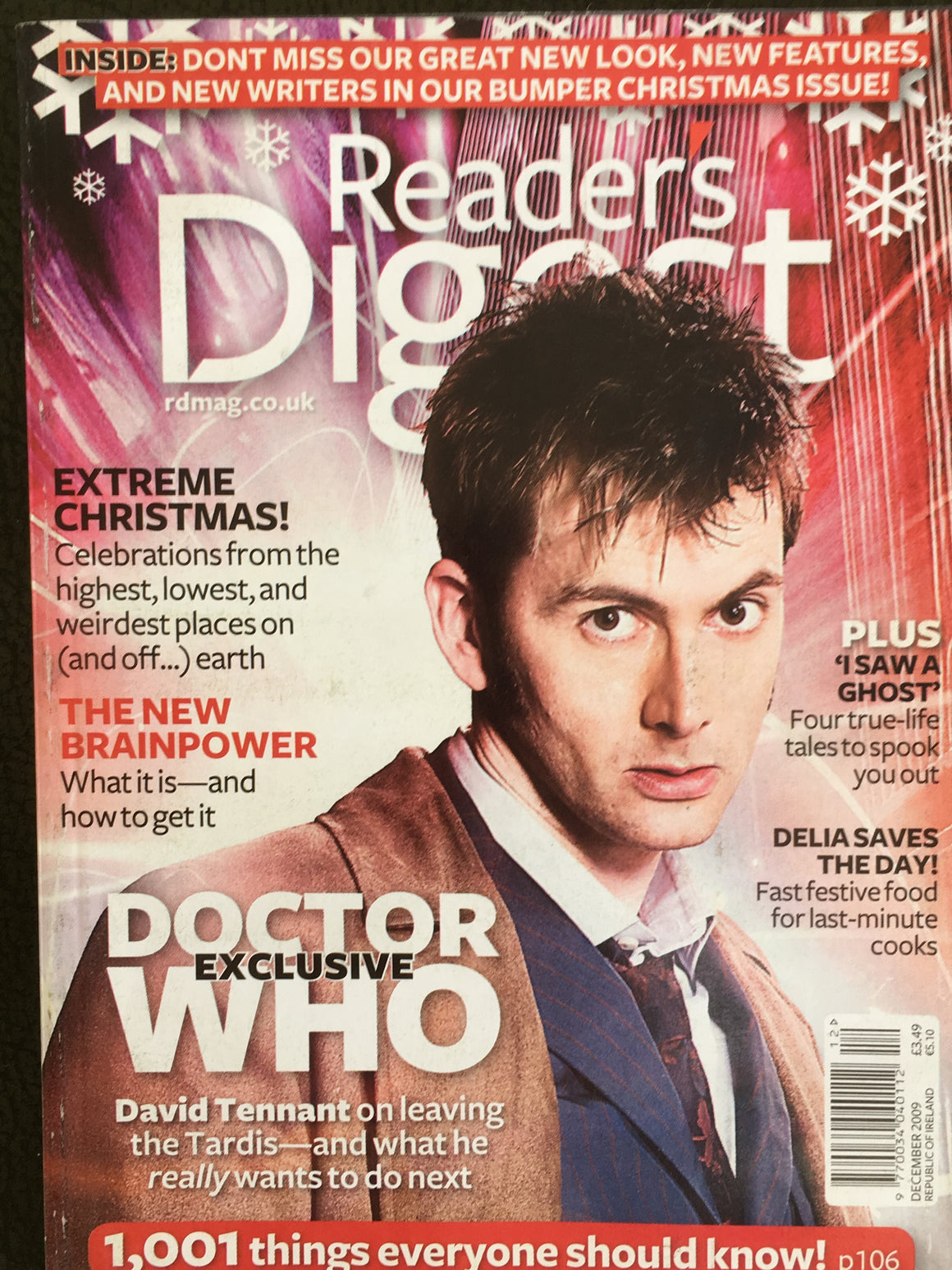 UK Reader's Digest Magazine December 2009 David Tennant Yusuf Islam